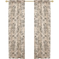 United Curtain Co. Fiona Nature/Floral Semi Sheer Grommet Curtain Panels FQC1436