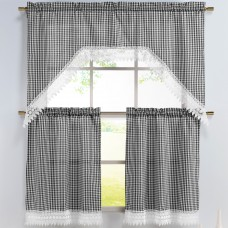 Window Elements Checkered 3 Piece Embroidered Kitchen Valance and Tier Set WNDW1095