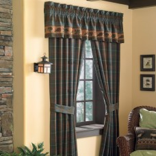 Croscill Caribou Pole Top Plaid Check Semi-Sheer Rod Pocket Curtain Panels ZM1255