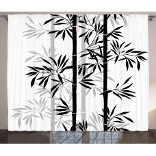Bloomsbury Market Brierfield Tree of Life Silhouette of Spiritual Bamboo Tree Leaves Japanese Zen Feng Shui Boho Image Graphic Print Text Semi-Sheer Rod Pocket Curtain Panels BBMT1658