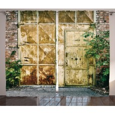 Brayden Studio Kalyn Industrial Rustic Brick House Still Door with Moss and Dirt Urban Garage Outdoor Image Graphic Print Text Semi-Sheer Rod Pocket Curtain Panels BRAY7190