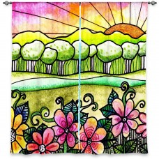 DiaNocheDesigns Nature/Floral Room Darkening Rod Pocket Curtain Panels DNOC2359