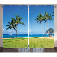 East Urban Home Coconut Palm Trees Graphic Print Room Darkening Rod Pocket Curtain Panels ESTN2141