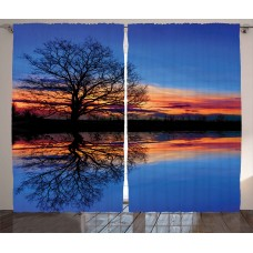 East Urban Home Panorama Tree against Sunset at Magical Night with Sky Reflection over Lake View Graphic Print Text Semi-Sheer Rod Pocket Curtain Panels EABN8088