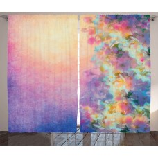 East Urban Home Purple Watercolor Style Effect Spring Cherry Blossom Decorations for Home Print Graphic Print Text Semi-Sheer Rod Pocket Curtain Panels EABN8200