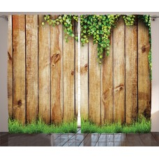 East Urban Home Wood Fence Rustic Home Decor Graphic Print Room Darkening Rod Pocket Curtain Panels ESTN2741