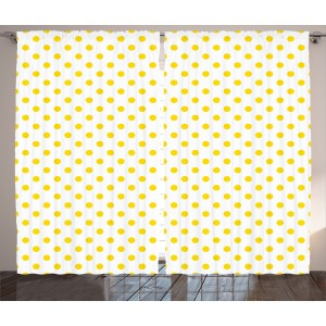 Harriet Bee Jerod Yellow Picnic Like Cute 50s 60s 70s Themed Yellow Spotted White Pattern Print Graphic Print Text Semi-Sheer Rod Pocket Curtain Panels HBEE2422