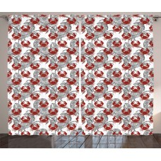 Highland Dunes Amie Crabs Decor Graphic Print Text Sheer Rod pocket Curtain Panels HLDS1818