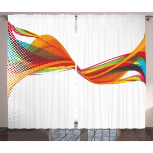 Latitude Run Clouse Abstract Rainbow Curved Wave Smoke like Image with Pixel Detailed Artwork Graphic Print Text Semi-Sheer Rod Pocket Curtain Panels LRUN5011