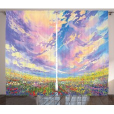 Latitude Run Collis Scenery Pastoral Valley under Surreal Dreamy Sky Floral Fresh Blooming Flourishing Graphic Print Text Semi-Sheer Rod Pocket Curtain Panels LRUN5039