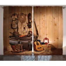 Loon Peak Brookside Western American Texas Style Country Music Guitar Cowboy Boots USA Folk Culture Graphic Print Text Semi-Sheer Rod Pocket Curtain Panels LNPK8145