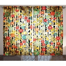 Red Barrel Studio Voorhees Nature/Floral Graphic Print and Text Semi-Sheer Rod Pocket Curtain Panels RBRS1203