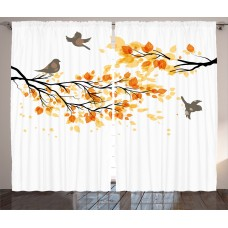 Red Barrel Studio Westlake Fall Decorations Branch with Pale Fall Leaves and Birds Change in Season Summer Print Graphic Print Text Semi-Sheer Rod Pocket Curtain Panels RBRS2633