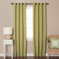 Best Home Fashion, Inc. Shimmery Basketweave Solid Blackout Grommet Curtain Panels BEHF1083