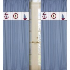 Sweet Jojo Designs Come Sail Away Nautical Semi-Sheer Rod Pocket Curtain Panels JJD1177