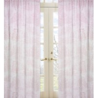 Sweet Jojo Designs Pink Toile Semi-Sheer Rod Pocket Curtain Panel Pair JJD1565