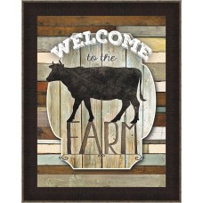 Ashton Wall Décor LLC 'Welcome To The Farm' Framed Graphic Art Print AWDC2673