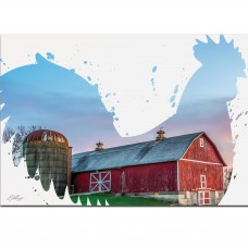 Latitude Run Silhouette 'Rooster Farm' Graphic Art Print on Metal LATD1719