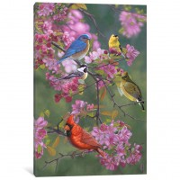 East Urban Home 'Birds and Blossoms' Painting Print on Canvas EAUU1080