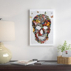 East Urban Home 'Butterfly Skull' Graphic Art Print on Canvas ESUR6666