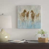 East Urban Home 'Horses' Print on Canvas ERBH3349