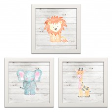 Harriet Bee Adorable 'Zoo Baby Elephant, Giraffe and Lion' 3 Piece Graphic Art Print Set GHGI1165