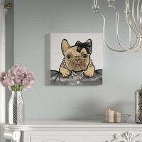 Mercer41 'Glam Frenchie' Graphic Art Print on Wrapped Canvas MCRF3950