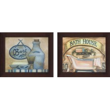 "PicturePerfectInternational ""Bath House"" 2 Piece Framed Wall Art on Canvas Set FCAC3778"