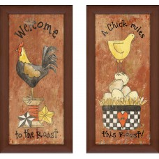 August Grove 'Welcome to the Roost' 2 Piece Framed Print Set AGGR8929