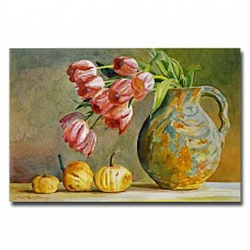 Charlton Home 'Soft Tulips in the Pottery' Painting Print on Canvas CHRH7392