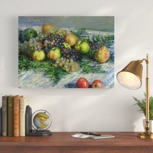 Charlton Home 'Still Life with Pears and Grapes' by Claude Monet Painting Print on Canvas CHRH7390