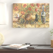 Fleur De Lis Living 'Tuscan Kitchen Red Poppies' Watercolor Painting Print on Wrapped Canvas FDLL9520