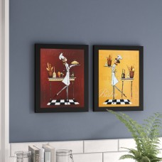 Red Barrel Studio 'Sassy Chef I' 2 Piece Framed Acrylic Painting Print Set RDBT6315