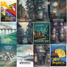 Harry Potter blanco cartón cartel Hogwarts Express Diagon Alley Hogsmeade etc Películas Movie posters 42*30 cm no frame ali-88043280