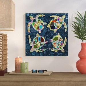 Bay Isle Home 'Four Sea Turtles' Print on Wrapped Canvas BAYI7976