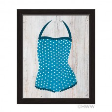 Click Wall Art Vintage Blue Polka Dot Bathing Suit Framed Illustration Graphic Art IZON1094
