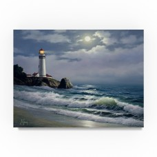 Trademark Art 'Coastal Scene 3' Oil Painting Print on Wrapped Canvas HYT87492